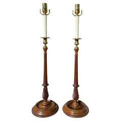 Early 20th Century George III Style Carved Wood & Brass Candlestick Lamps, Pair