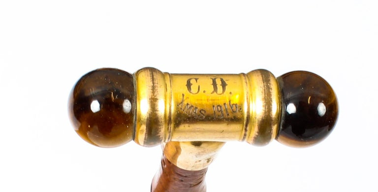 Early 20th Century George V Tiger S Eye Swagger Stick Cane