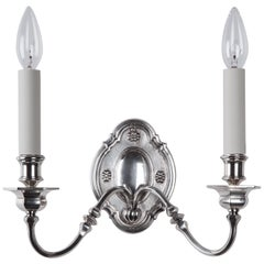 Early 20th Century Georgian Double Light Silver Sconces