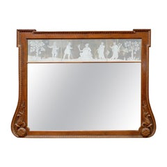 Early 20th Century Georgian Style Over Mantle Mirror with Etched Panels