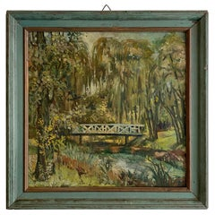 Early 20th Century German Art Deco Landscape Oil Painting, circa 1920