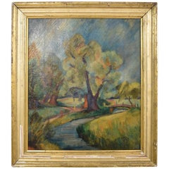 Early 20th Century German Art Deco Landscape Oil Painting, circa 1935