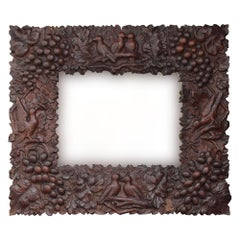 Early 20th Century German Black Forest Hand Carved Mirror