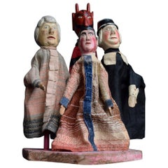 Early 20th Century German Folk Art Punch and Judy Puppets