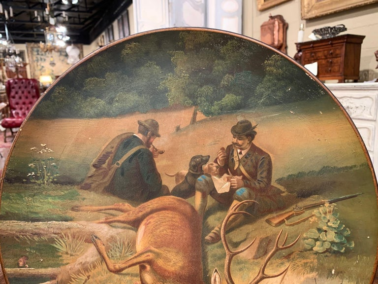 Black Forest Early 20th Century German Hand Painted Ceramic Hunt Scene Wall Platter