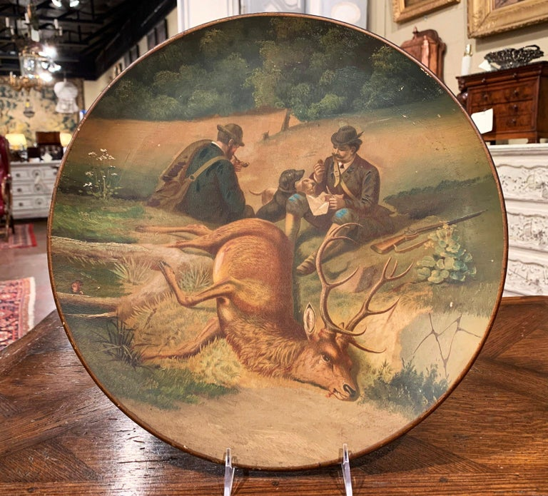 Early 20th Century German Hand Painted Ceramic Hunt Scene Wall Platter In Excellent Condition In Dallas, TX