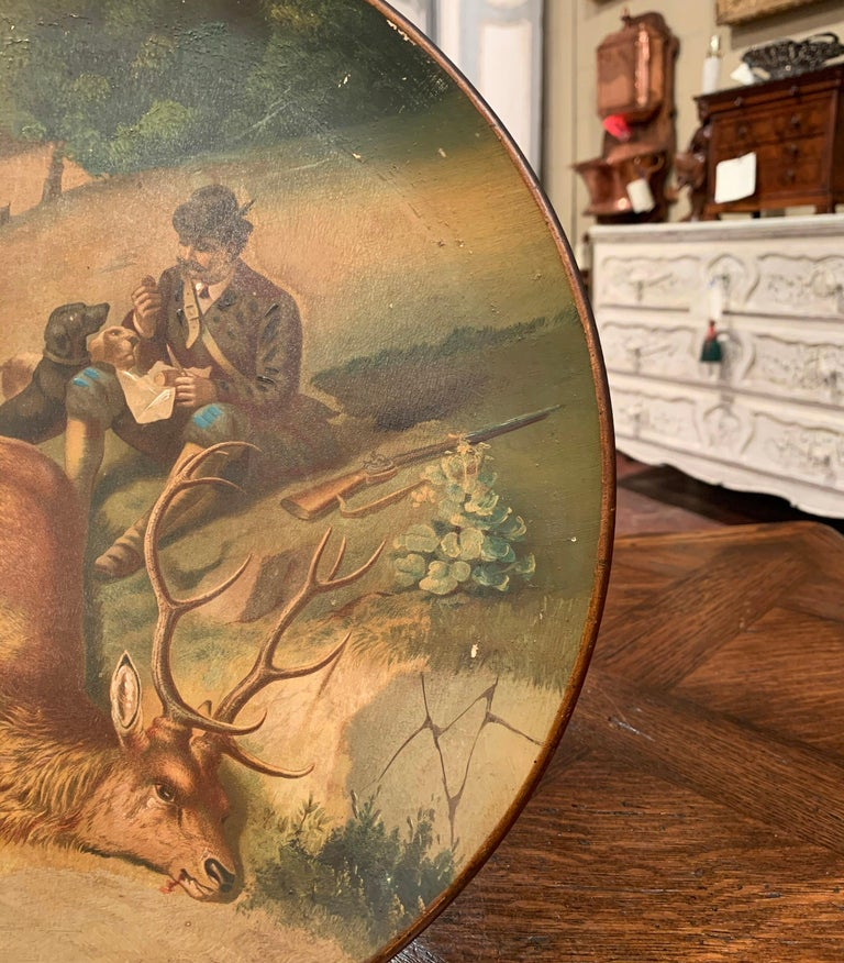 Early 20th Century German Hand Painted Ceramic Hunt Scene Wall Platter 2