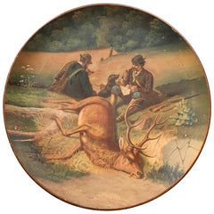 Early 20th Century German Hand Painted Ceramic Hunt Scene Wall Platter