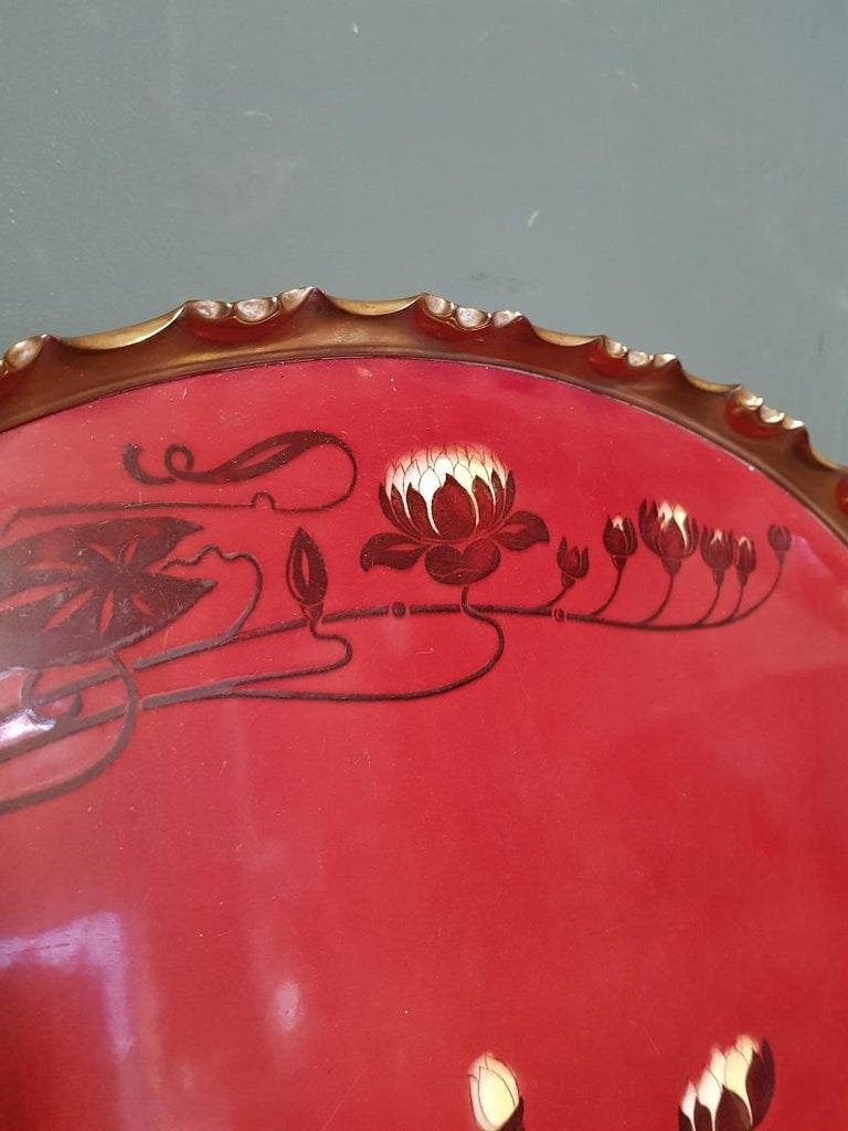 19th Century Early 20th Century German Jugendstil Serving Tray with Brass Border For Sale