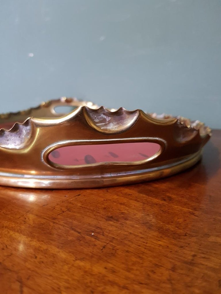 Early 20th Century German Jugendstil Serving Tray with Brass Border For Sale 2