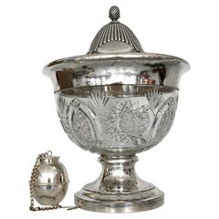 Early 20th Century German Punch Bowl Around 1900 Cut Crystal and Silver