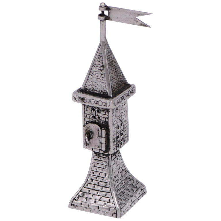 Early 20th Century German Silver Spice Tower For Sale