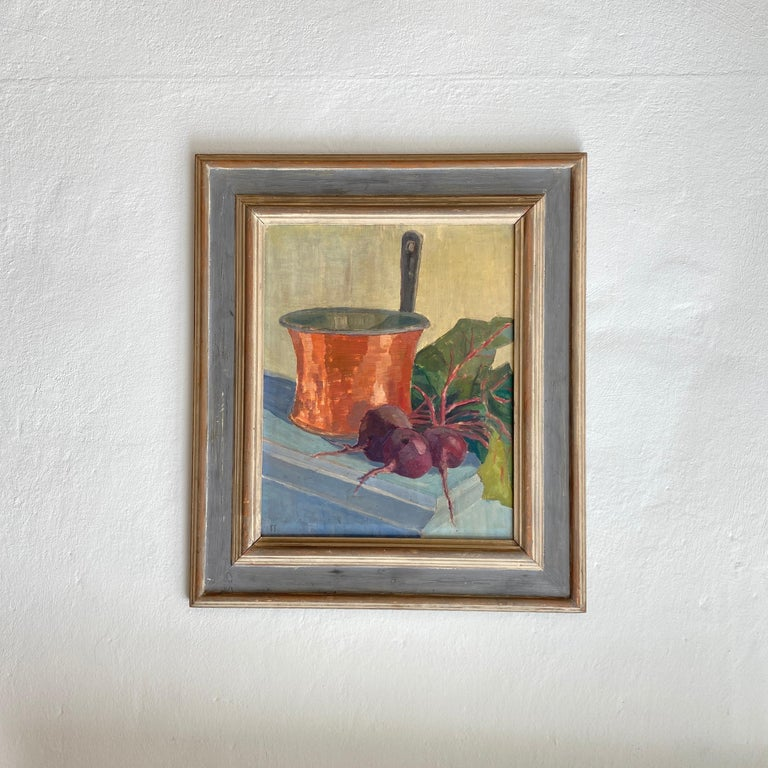 Mid-20th Century Early 20th Century German Still Life Oil Painting, Around 1950 For Sale