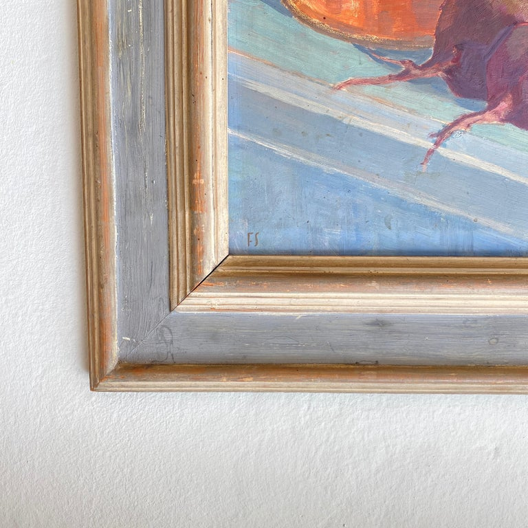 Wood Early 20th Century German Still Life Oil Painting, Around 1950 For Sale