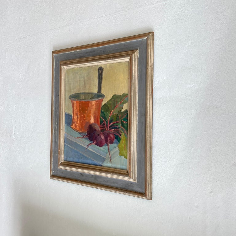 Early 20th Century German Still Life Oil Painting, Around 1950 For Sale 1