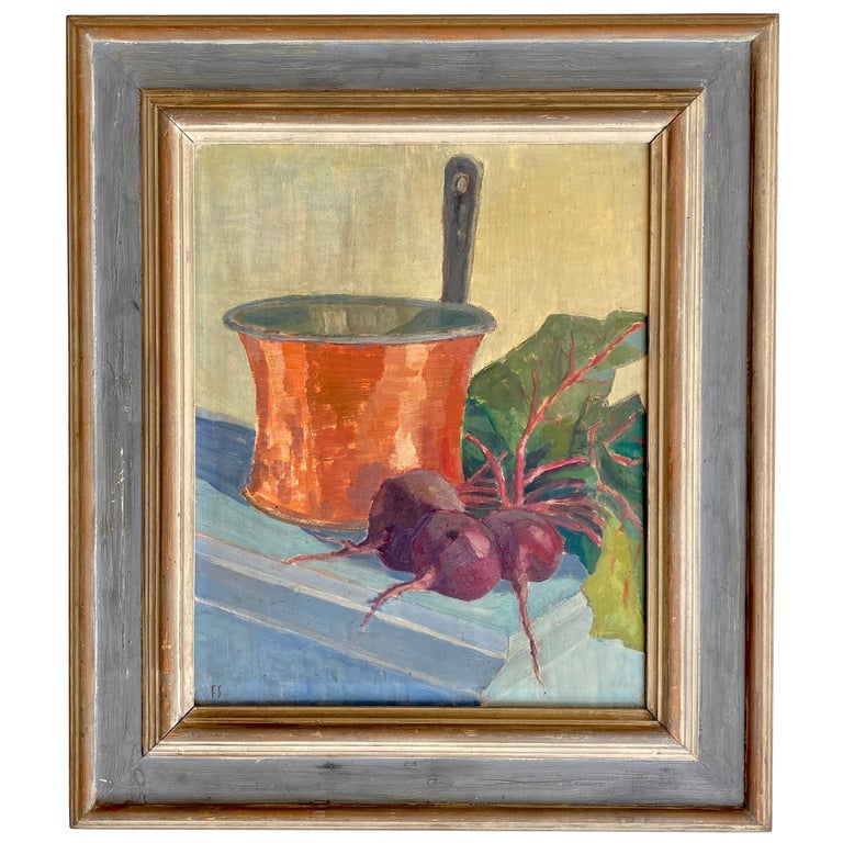 Early 20th Century German Still Life Oil Painting, Around 1950 For Sale