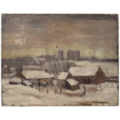 Early 20th Century German Winter Landscape Oil Painting on Canvas, circa 1920