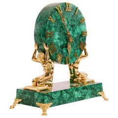 Early 20th Century Gilt and Patinated Bronze Malachite Mantle Clock