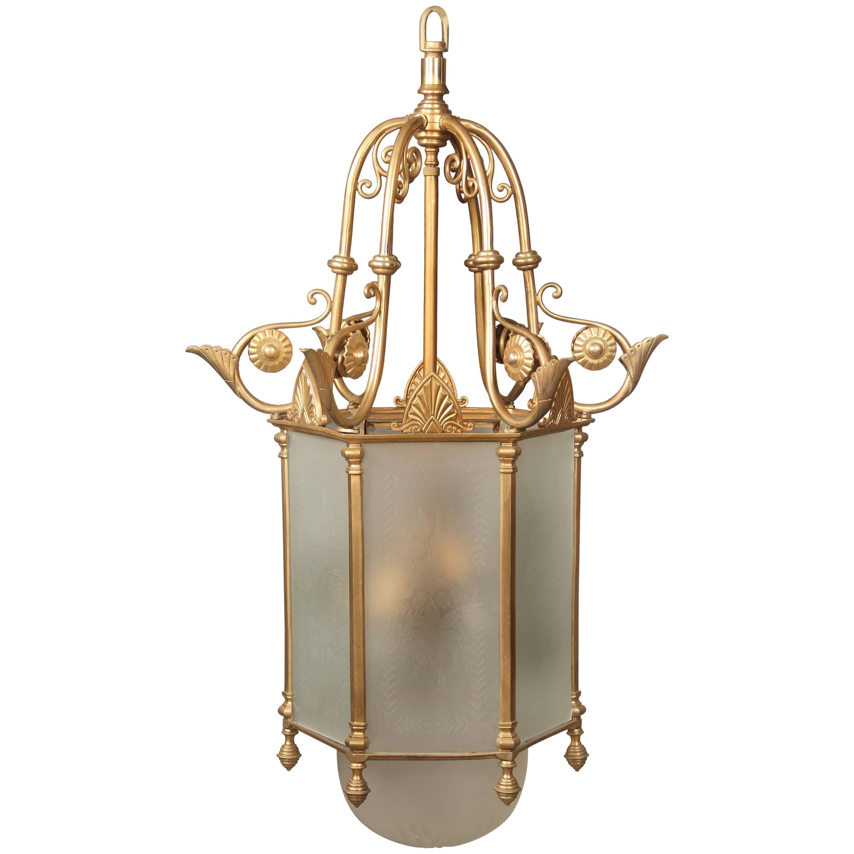 Early 20th Century Gilt Bronze and Etched Glass Lantern