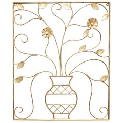Early 20th Century Gilt Iron Wall Sculpture or Applique, Urn and Floral Motif