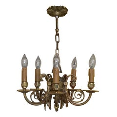 Early 20th Century Gilt Metal 5-Arm Chandelier