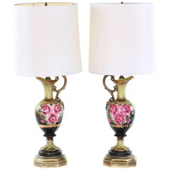 Early 20th Century Gilt Porcelain Pair Table Lamps