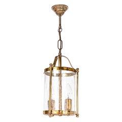 Early 20th Century Glass & Brass Lantern