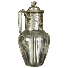 Early 20th Century Glass Wine Jug with Silver Fittings