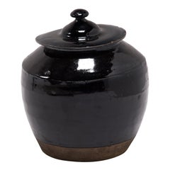 Early 20th Century Glazed Pantry Jar with Lid