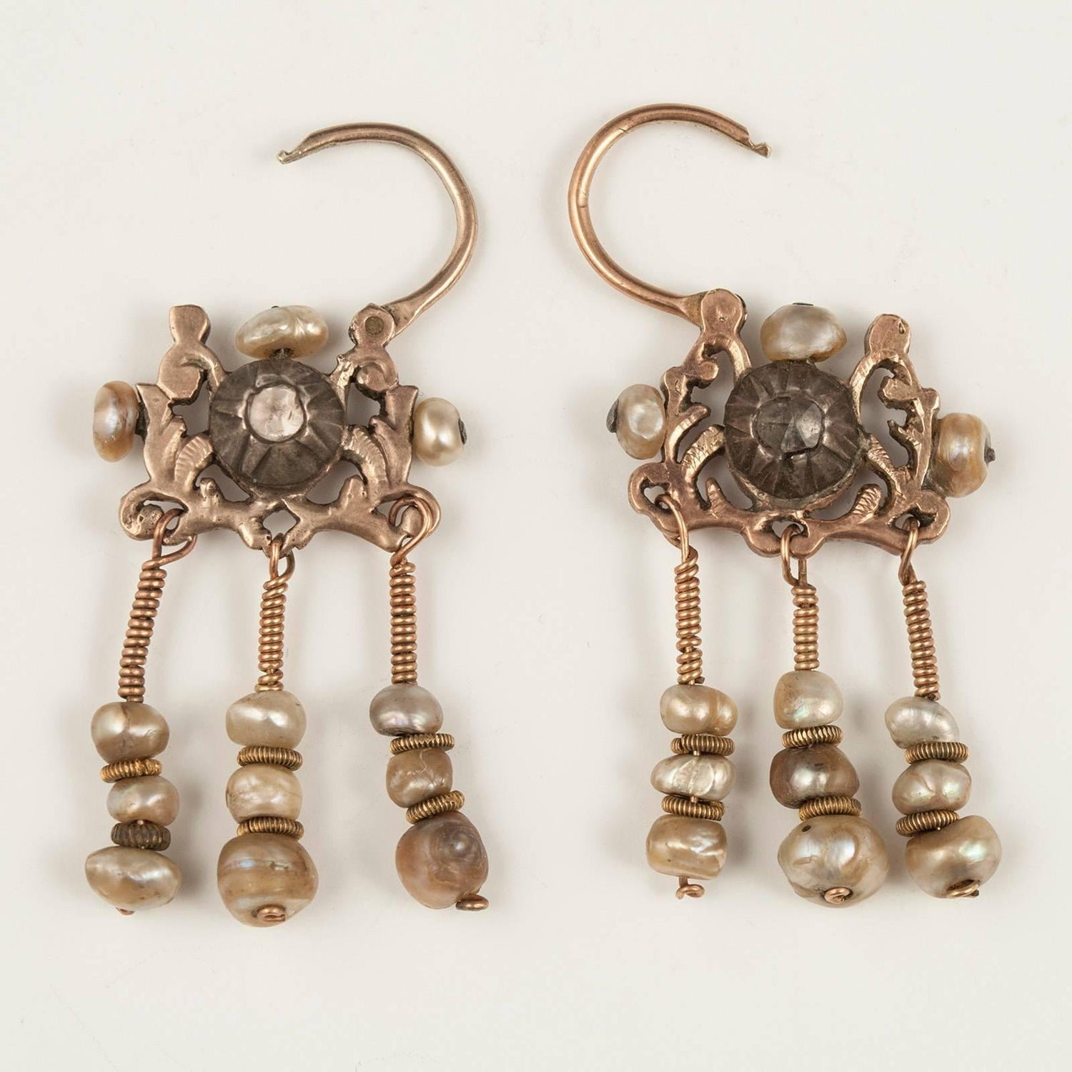 Early 20th Century Gold And Diamond Earrings Tunis Tunisia At 1stdibs