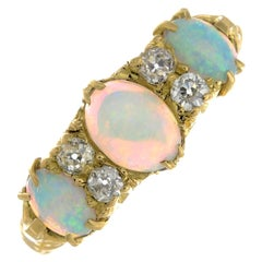 Early 20th Century Gold Opal and Diamond Dress Ring