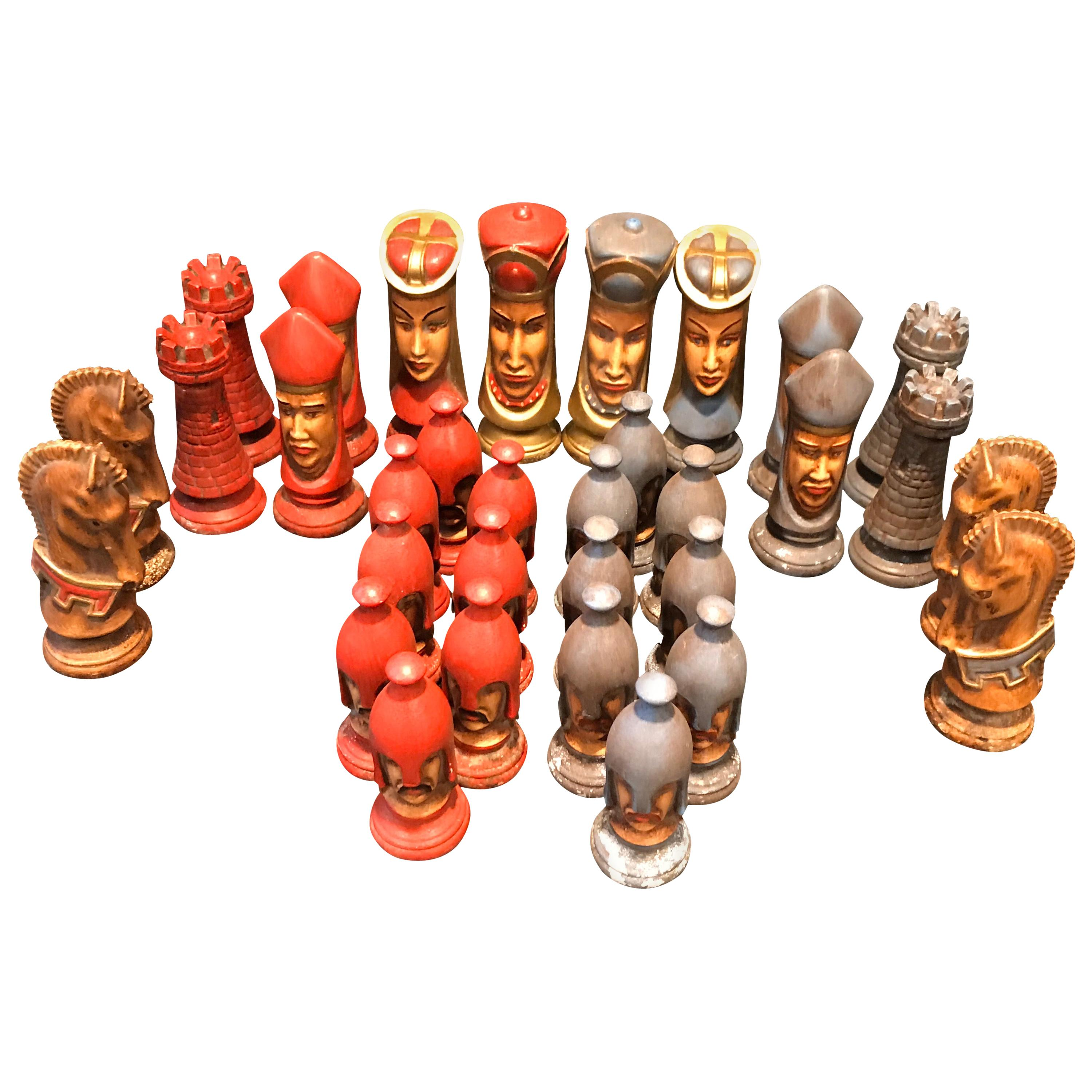 """Late 20th Century Gothic Midieval """"Game of Thrones"""" Style Chess Set"""