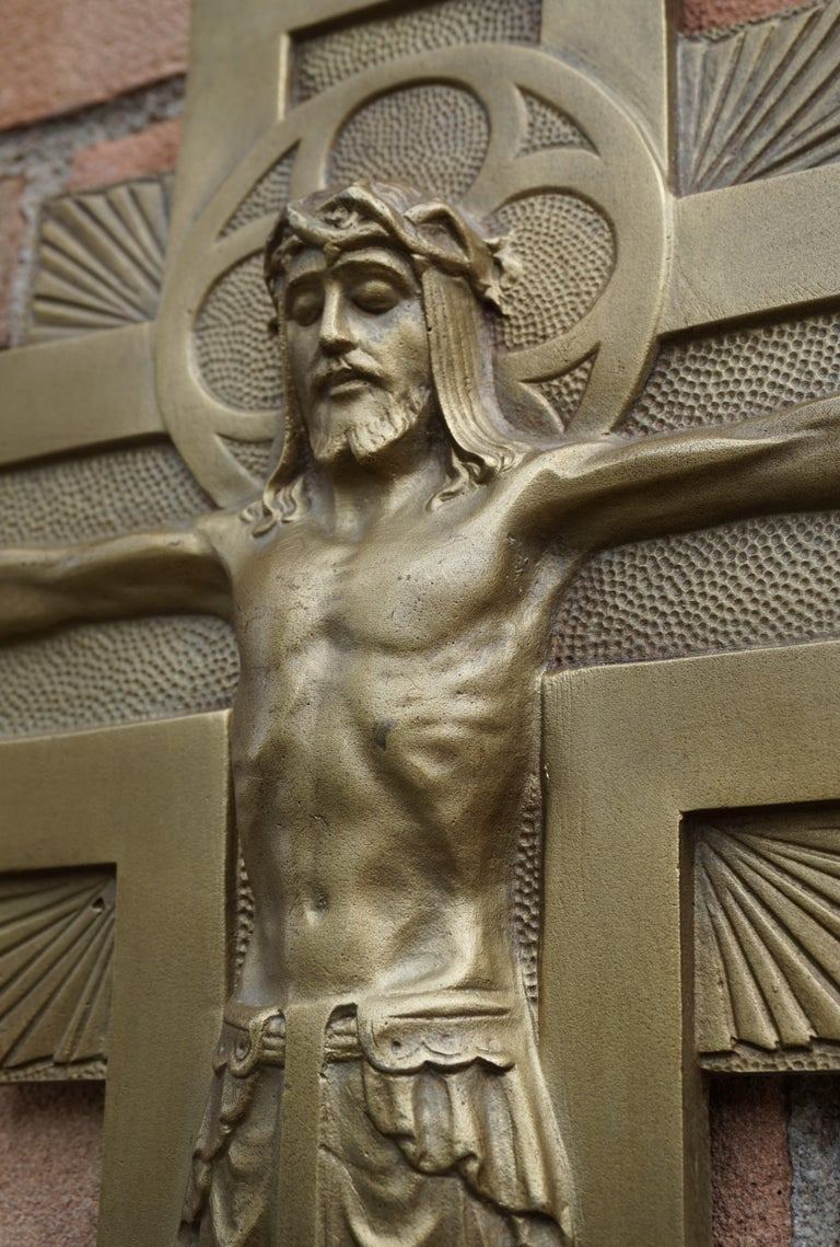 Early 20th Century Gothic Revival Bronze Wall Crucifix by Sculptor Sylvain Norga For Sale 7