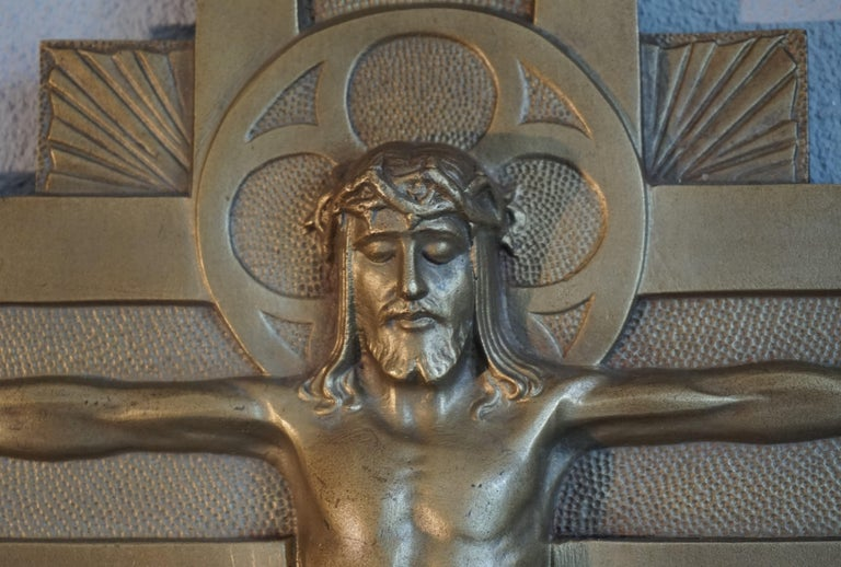 Early 20th Century Gothic Revival Bronze Wall Crucifix by Sculptor Sylvain Norga For Sale 9