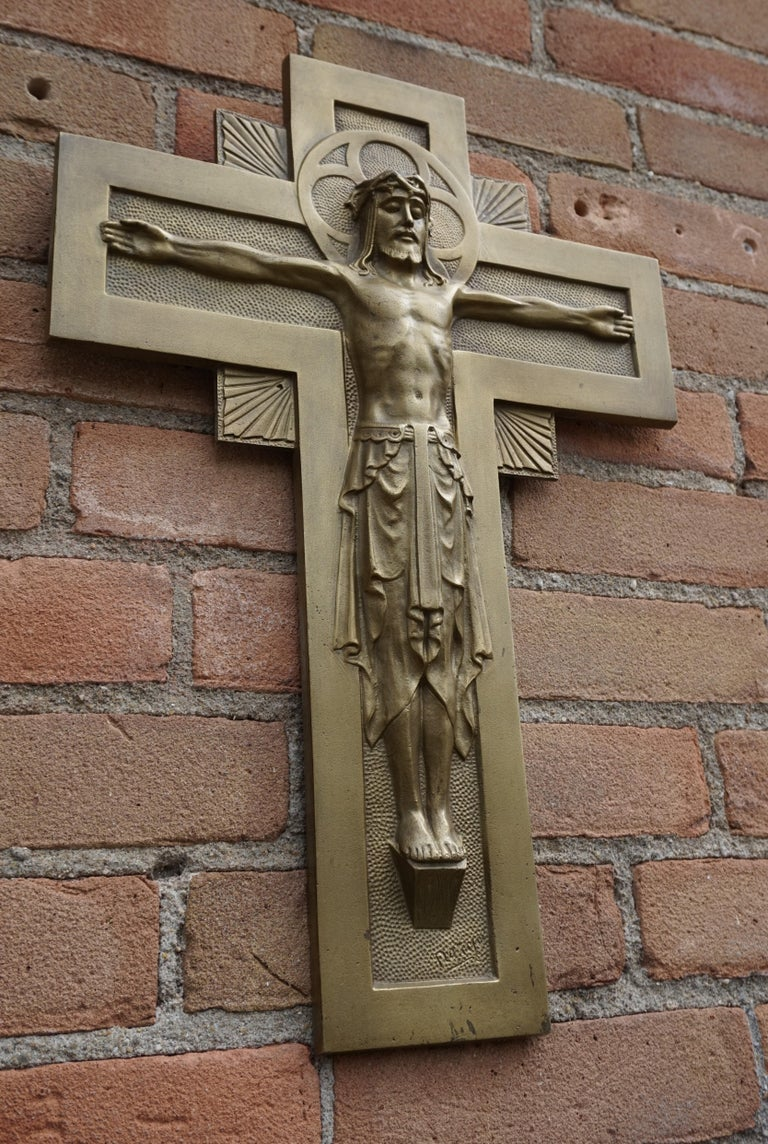 Early 20th Century Gothic Revival Bronze Wall Crucifix by Sculptor Sylvain Norga For Sale 10