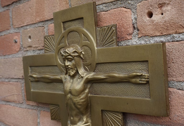 Hand-Crafted Early 20th Century Gothic Revival Bronze Wall Crucifix by Sculptor Sylvain Norga For Sale