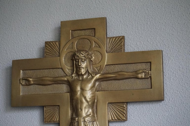 Early 20th Century Gothic Revival Bronze Wall Crucifix by Sculptor Sylvain Norga For Sale 2