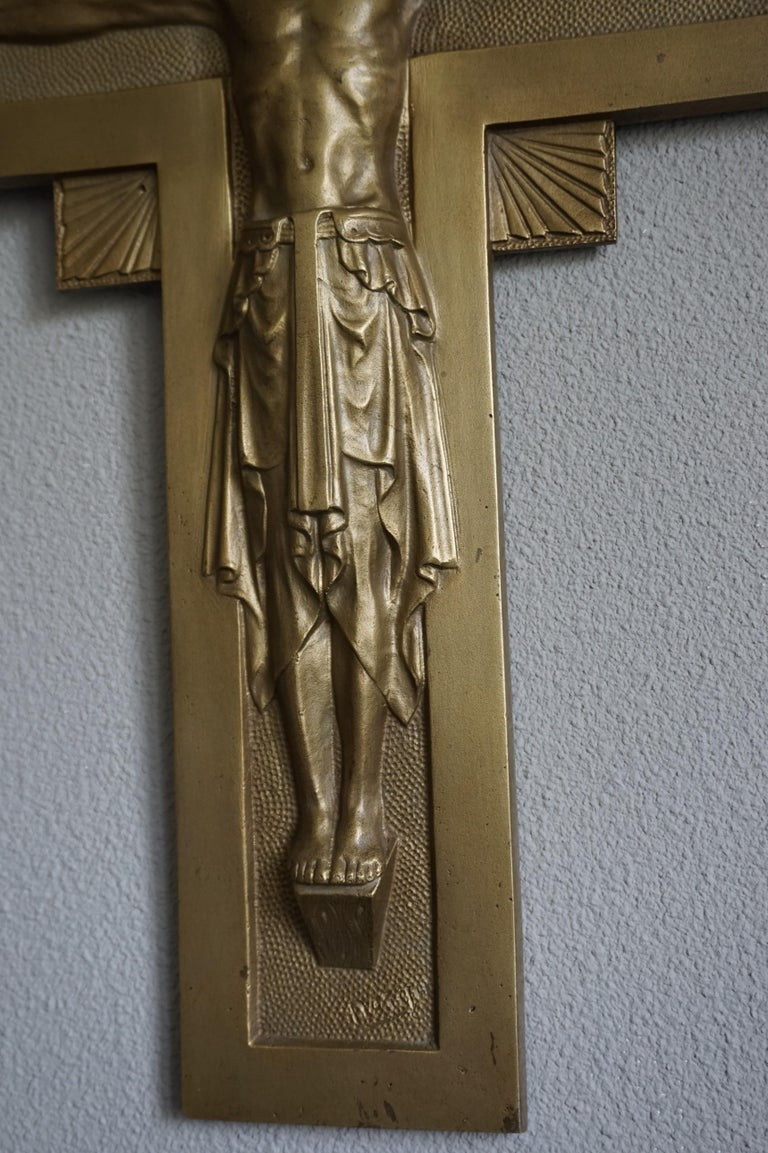 Early 20th Century Gothic Revival Bronze Wall Crucifix by Sculptor Sylvain Norga For Sale 3