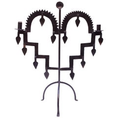 Early 20th Century Gothic Style Wrought Iron Candelabrum on Tripod Stand