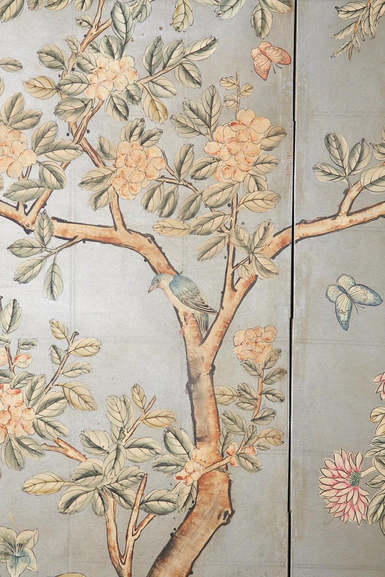 Early 20th Century Gracie Chinoiserie Style Wallpaper Panel Screen For Sale 4