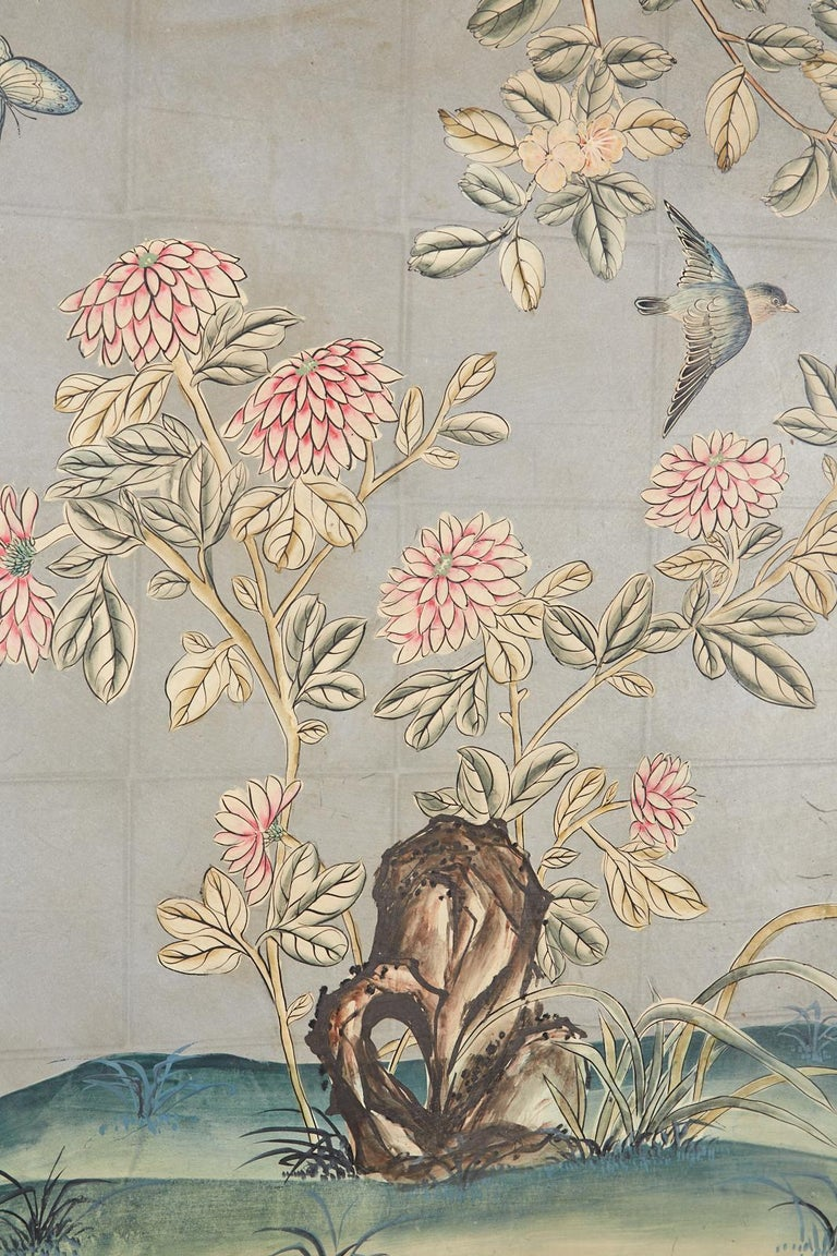Early 20th Century Gracie Chinoiserie Style Wallpaper Panel Screen For Sale 6