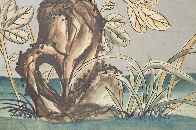 Early 20th Century Gracie Chinoiserie Style Wallpaper Panel Screen For Sale 7