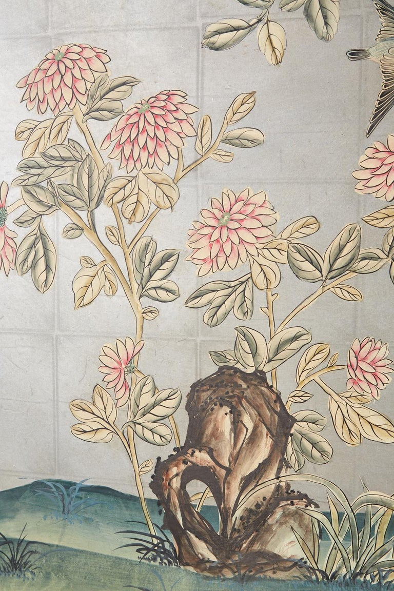 Early 20th Century Gracie Chinoiserie Style Wallpaper Panel Screen For Sale 8
