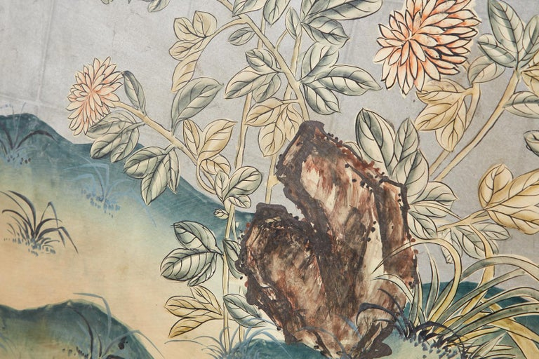 Early 20th Century Gracie Chinoiserie Style Wallpaper Panel Screen For Sale 10
