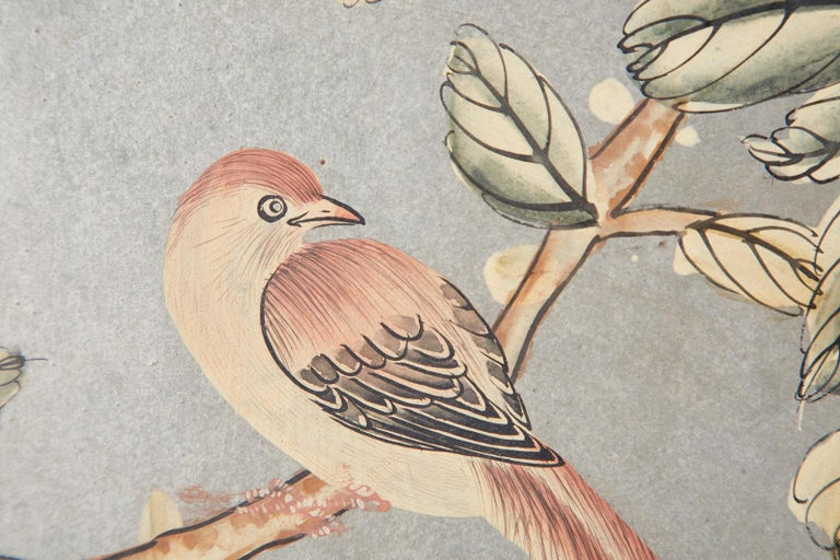 Early 20th Century Gracie Chinoiserie Style Wallpaper Panel Screen For Sale 12