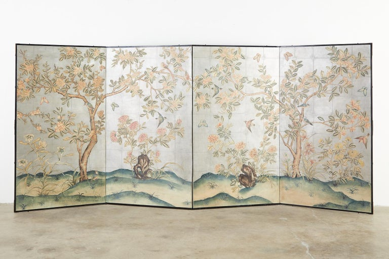 Fantastic Chinese early 20th century hand painted wallpaper panels mounted in a four-panel screen. Made in the manner and style of Gracie in the chinoiserie revival period mid-19th century through the early 20th century of Europe and the United