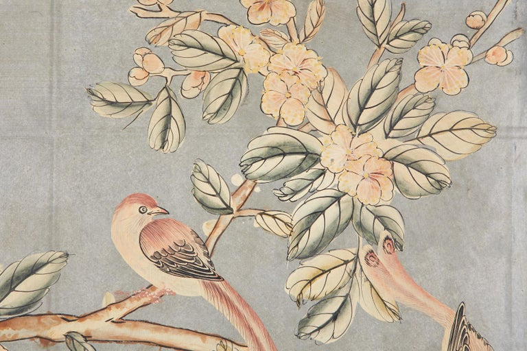 Chinese Early 20th Century Gracie Chinoiserie Style Wallpaper Panel Screen For Sale