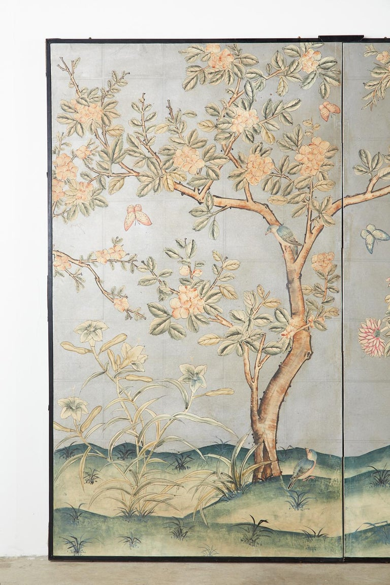 Lacquered Early 20th Century Gracie Chinoiserie Style Wallpaper Panel Screen For Sale