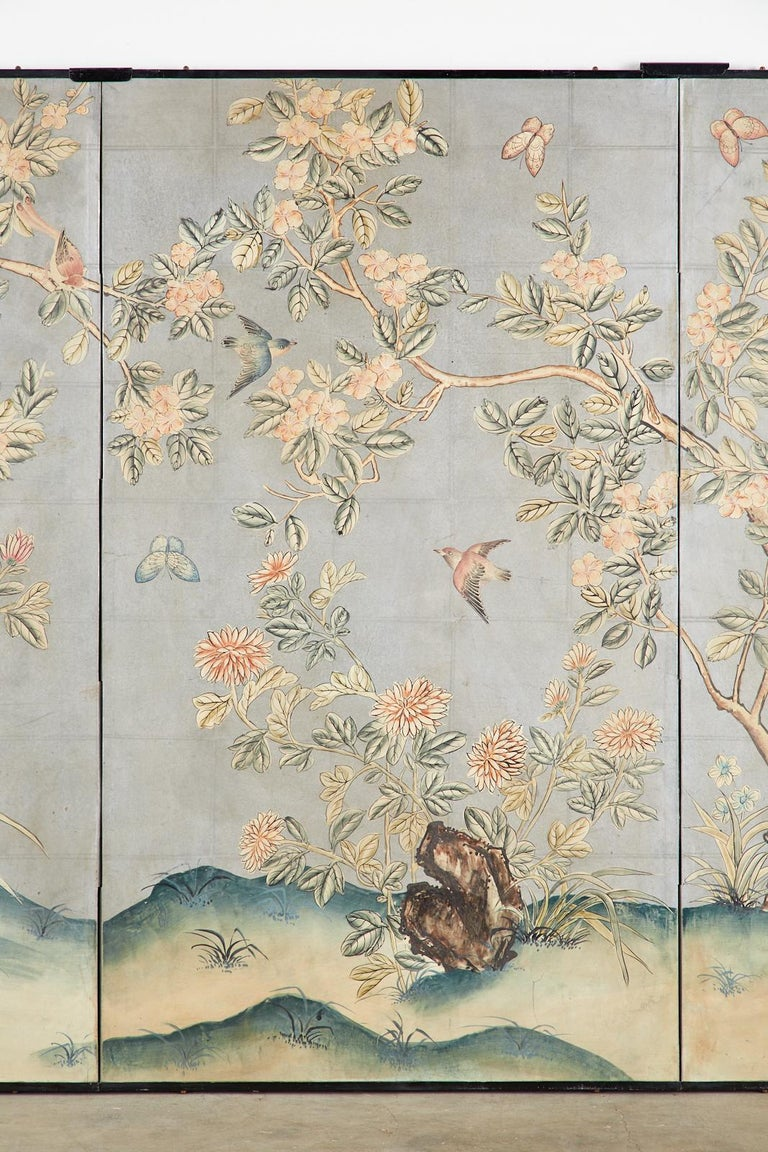 Wood Early 20th Century Gracie Chinoiserie Style Wallpaper Panel Screen For Sale