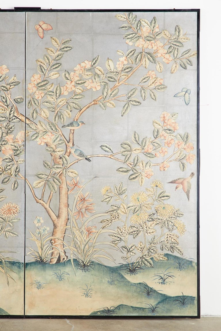 Early 20th Century Gracie Chinoiserie Style Wallpaper Panel Screen For Sale 1